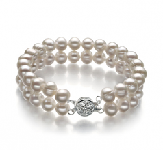 6-7mm A Quality Freshwater Cultured Pearl Bracelet in Eda White
