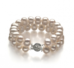 8-9mm A Quality Freshwater Cultured Pearl Bracelet in Leonora White