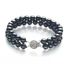 6-7mm AA Quality Freshwater Cultured Pearl Bracelet in Henrike Black