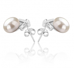 7-8mm AAA Quality Freshwater Cultured Pearl Earring Pair in Klarita White