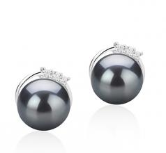 7-8mm AAAA Quality Freshwater Cultured Pearl Earring Pair in Leslie Black