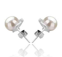7-8mm AAAA Quality Freshwater Cultured Pearl Earring Pair in Leslie White