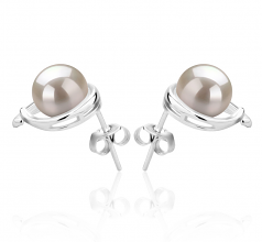 7-8mm AAAA Quality Freshwater Cultured Pearl Earring Pair in Raina White