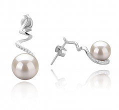 8-9mm AAAA Quality Freshwater Cultured Pearl Earring Pair in Lolita White