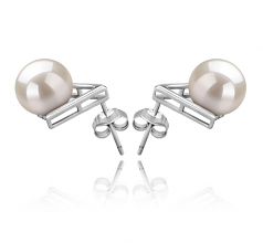8-9mm AAAA Quality Freshwater Cultured Pearl Earring Pair in Africa White