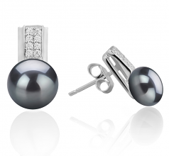 8-9mm AAA Quality Freshwater Cultured Pearl Earring Pair in Alina Black