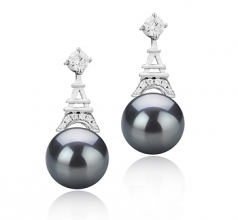 8-9mm AAAA Quality Freshwater Cultured Pearl Earring Pair in Eiffer-Tower Black