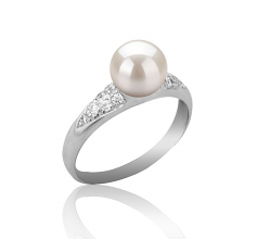 6-7mm AAAA Quality Freshwater Cultured Pearl Ring in Cristy White