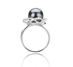 9-10mm AAA Quality Tahitian Cultured Pearl Ring in Bobbie Black