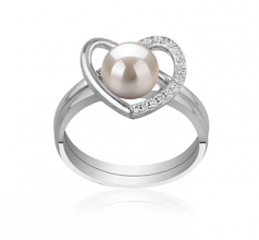6-7mm AAAA Quality Freshwater Cultured Pearl Ring in Heart White