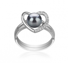 6-7mm AAAA Quality Freshwater Cultured Pearl Ring in Heart Black