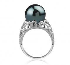 12-13mm AA Quality Tahitian Cultured Pearl Ring in Alva Black