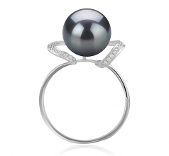 10-11mm AAA Quality Tahitian Cultured Pearl Ring in Sheila Black