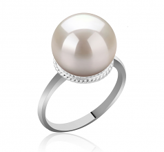 10-11mm AAAA Quality Freshwater Cultured Pearl Ring in Tindra White