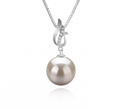 9-10mm AAAA Quality Freshwater Cultured Pearl Pendant in Edna White