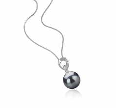 10-11mm AAA Quality Tahitian Cultured Pearl Pendant in Emilia Black
