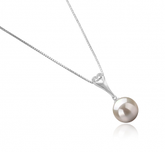 10-11mm AAAA Quality Freshwater Cultured Pearl Pendant in Bunny White