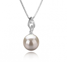 10-11mm AAAA Quality Freshwater Cultured Pearl Pendant in Frida White