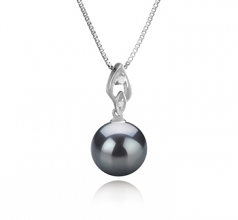 11-12mm AAA Quality Tahitian Cultured Pearl Pendant in Frida Black
