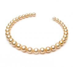 10.1-14.6mm AA Quality South Sea Cultured Pearl Necklace in 18-inch Gold