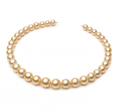 9.7-13.9mm AA Quality South Sea Cultured Pearl Necklace in 18-inch Gold