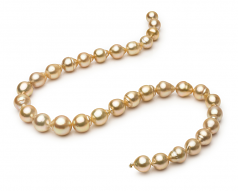 10.1-12.5mm Baroque Quality South Sea Cultured Pearl Necklace in Golden 18-inch Gold