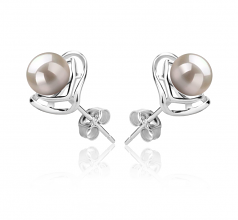 6-7mm AAAA Quality Freshwater Cultured Pearl Earring Pair in Rowan White