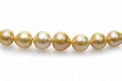 10-14mm Baroque Quality South Sea Cultured Pearl Necklace in 18-inch Gold