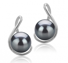 6-7mm AAAA Quality Freshwater Cultured Pearl Earring Pair in Tamika Black