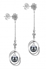 6-7mm AA Quality Japanese Akoya Cultured Pearl Earring Pair in Paula Black