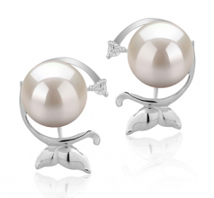 7-8mm AA Quality Japanese Akoya Cultured Pearl Earring Pair in Gilda White
