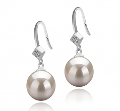 8-9mm AAAA Quality Freshwater Cultured Pearl Earring Pair in Ethel White