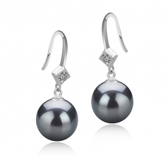 8-9mm AAAA Quality Freshwater Cultured Pearl Earring Pair in Ethel Black