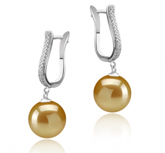 10-11mm AAA Quality South Sea Cultured Pearl Earring Pair in Ophelia Gold