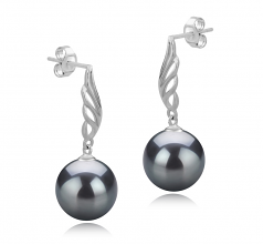9-10mm AAA Quality Tahitian Cultured Pearl Earring Pair in Wing Black