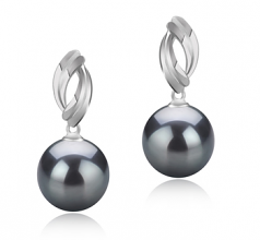 9-10mm AAA Quality Tahitian Cultured Pearl Earring Pair in Shamara Black