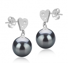 8-9mm AAAA Quality Freshwater Cultured Pearl Earring Pair in Taima Black