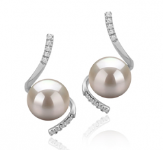 8-9mm AAAA Quality Freshwater Cultured Pearl Earring Pair in Mathilde White