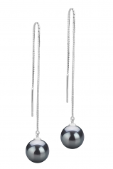 8-9mm AAAA Quality Freshwater Cultured Pearl Earring Pair in Dottie Black