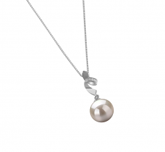 9-10mm AAAA Quality Freshwater Cultured Pearl Pendant in Winola White