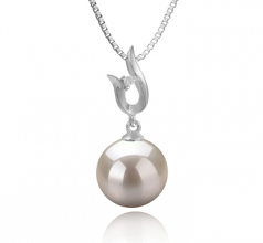 9-10mm AAAA Quality Freshwater Cultured Pearl Pendant in Samantha White