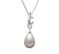 10-11mm AAA Quality Freshwater Cultured Pearl Pendant in Mildred White