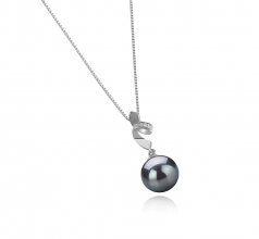 9-10mm AAA Quality Tahitian Cultured Pearl Pendant in Winola Black