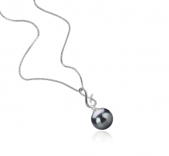 9-10mm AAA Quality Tahitian Cultured Pearl Pendant in Valena Black