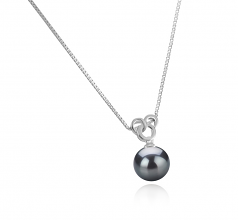 9-10mm AAA Quality Tahitian Cultured Pearl Pendant in Adelina Black