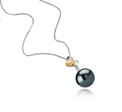 11-12mm AAA Quality Tahitian Cultured Pearl Pendant in Felicia Black