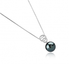 12-13mm AAA Quality Tahitian Cultured Pearl Pendant in Marlo Black
