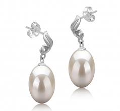 9-10mm AAA Quality Freshwater Cultured Pearl Earring Pair in Deborah White