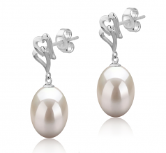 9-10mm AAA Quality Freshwater Cultured Pearl Earring Pair in Laura White