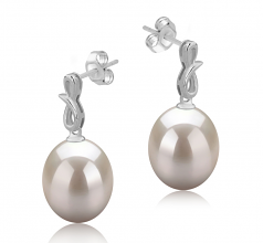 9-10mm AAA Quality Freshwater Cultured Pearl Earring Pair in Lucille White